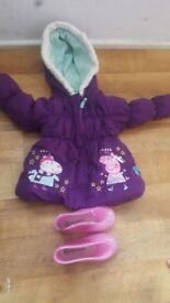 baby girls peppa pig jacket and wellys