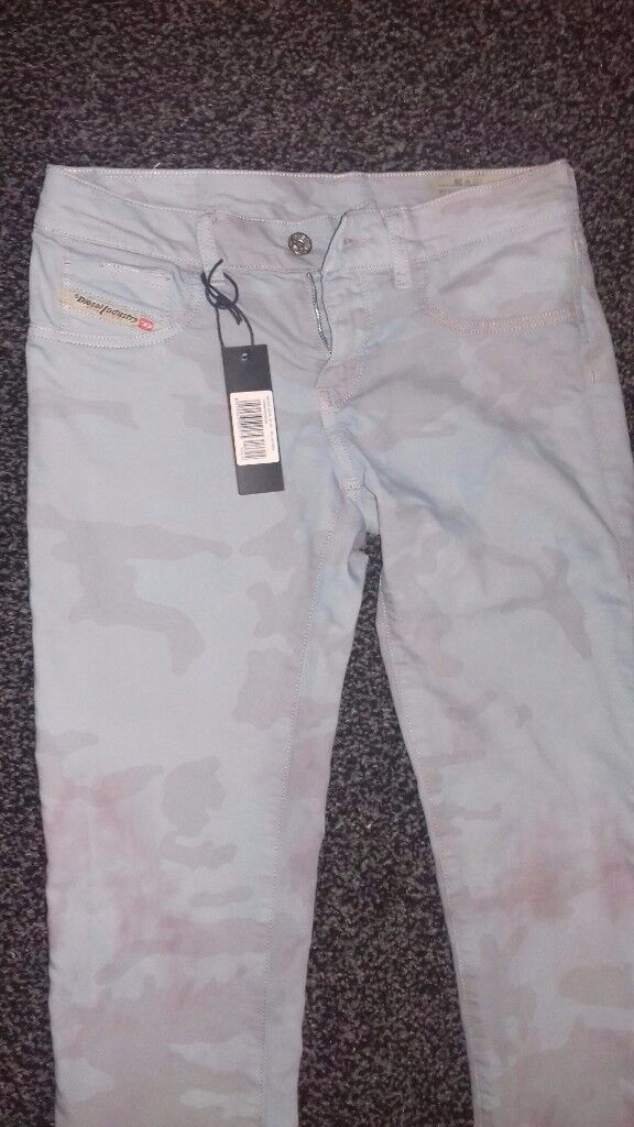 DIESEL LIVIER JEANS BLUE PRINT SKINNY SIZE 29 34 UK 10 NEW WITH TAG £120