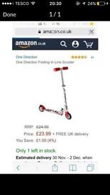 One Direction scooter (new outdoor toys ride ons christmas bargain bike outdoors)