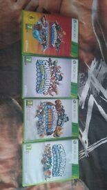 Skylander figures and xbox 360 games with portals