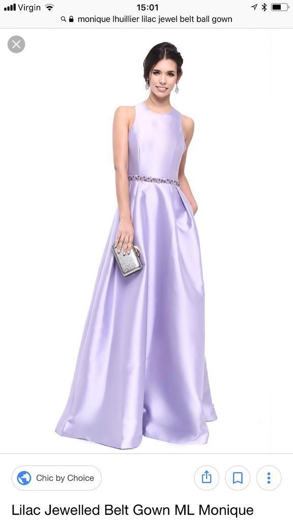 Monique Lhuillier lilac ball gown with jewelled belt size 8 | in ...