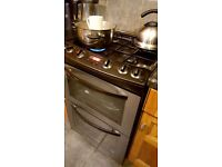 Gas cooker stainless steel and black 60cm