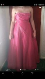 Pink fuschia prom dress - strapless with sequins. Full length with lace underneath. Size 10-12