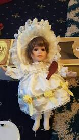 Little girl who had a curl porcelain doll