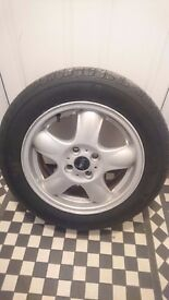 """Mini cooper 15"""" (bmw) alloy wheels,tyres,wheel nuts and locking wheel nuts"""