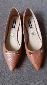 LadiesTan leather slip on shoes