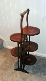 Attractive Antique Mahogany Folding Cake Stand with five shelves each with decorative shell inlay