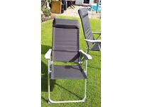 Two Folding Camping Caravanning Chairs Deck Chairs - lightweight aluminium frames