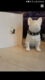 White high gloss bulldog ornament £10