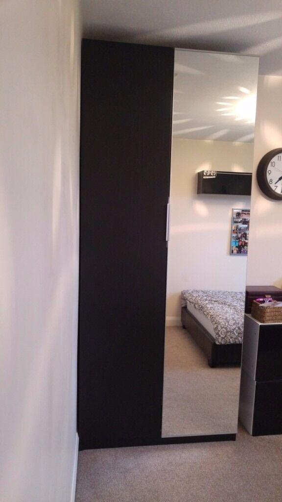 ikea wardrobe lighting. Brown/black IKEA Wardrobe (PAX) With One Mirrored Door, Including Automatic Lighting Ikea A