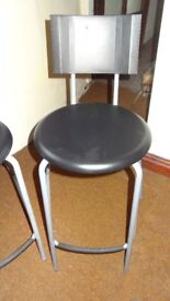 pair of bar stools from ikea grey silver in colour ideal work etc