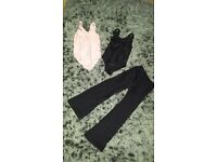 dance pink and black leotard and black jazz pants all size 1B
