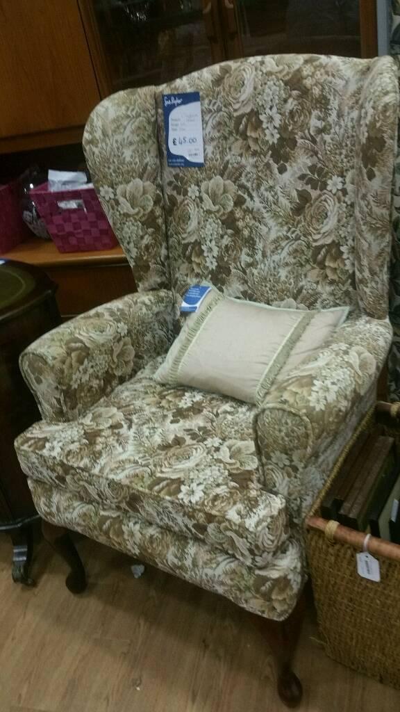 Floral fireside arm chair