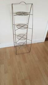 free standing 4 tier saucepan rack in brushed chrome pan stand