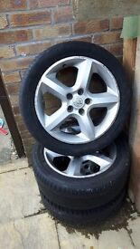 Vauxhall zafira alloys x 3 with tyres. Open to reasonable offers