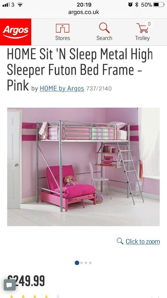 Metal High Sleeper Single Bed With Desk