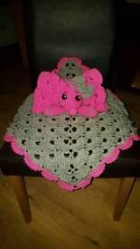 Handmade crochet security blanket