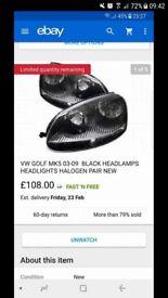 Golf Mk 5 black headlights