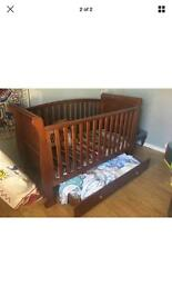 Dark wood cotbed / cot sleigh bed with mattress
