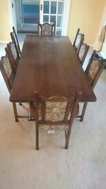 Solid wood table&8 chairs slight wine stain just needs a polish. Collection only