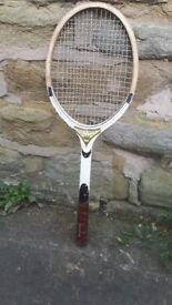 Vintage / Retro Wooden Majestic Tennis Racket Rackett Cream Black Gold Brown