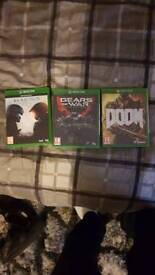 Xbox one games halo 5,doom and gears of war ultimate addition 2 unopened