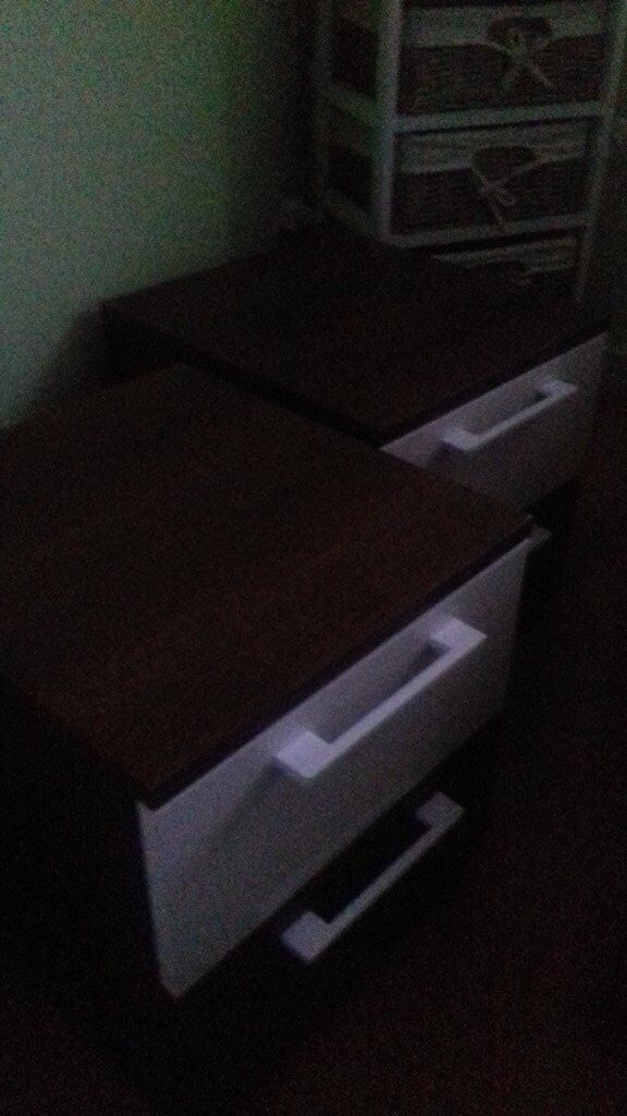 Pair of Bedside Chests of Drawers, 2 Drawer Walnut White, almost new