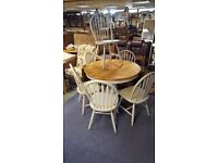 Country-style White-painted Extendable Dining Table and Six Chairs in Good Condition