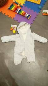 Fluffy pramsuit 3-6 months