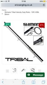 Brand new 12ft 3lb Shimano Tribal Velocity Carp Rods