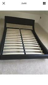 Double faux leather bed frame