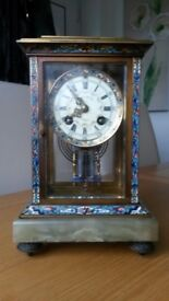 French Cloisonne Carriage Clock by Philipps of Paris