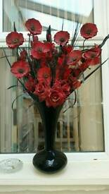 Vase and artificial flowers