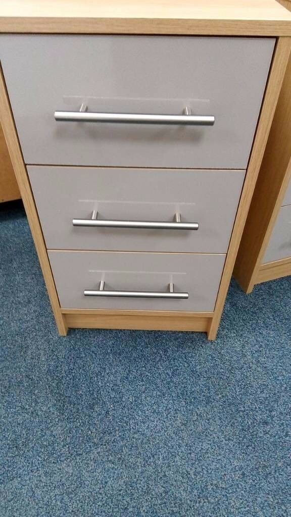 New Oak Effect and Putty 3 Drawer Bedside