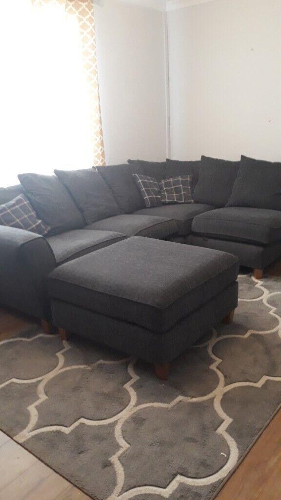 Left Corner L Shaped Charcoal Grey Sofa