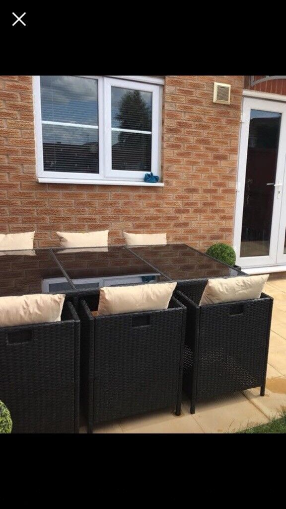 Black Patio Set Covers: Black Six Seater Rattan Garden Furniture Set