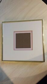 SIX BRASS PICTURE FRAMES WITH OVERLAYS