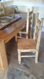 Oak table and chairs 6ft x3ft