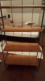 Iron and wood shelf unit