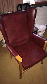 High back fireside chair