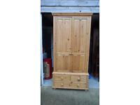 Chunky Pine Wardrobe - drawers to base