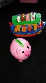 toy bundle: piggybank coin sorter and noah's ark