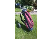 Golf clubs, bag, trolley and ancilliary equipment