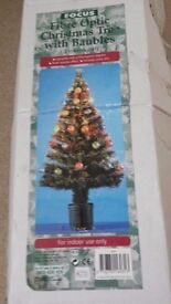 4ft Fibre Optic Christmas Tree with Baubles in box