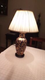 """Blue/gold table lamp & shade H=22"""" W & D = 5"""" Originally purchased from John Lewis"""