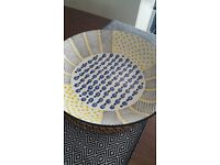 West Elm BRAND NEW serveware serving bowl blue yellow and black