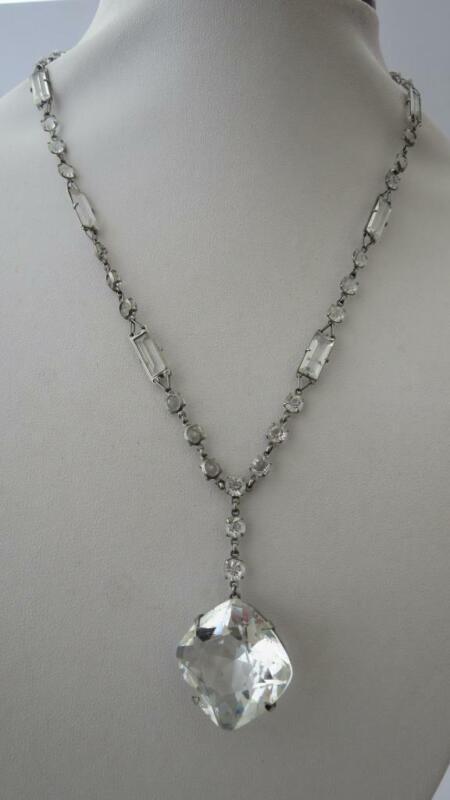 """Vintage Art Deco Facet Rock Crystal Platinon Set 18"""" Lavalier Pendant Necklace"""