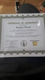 Ronnie wood hand signed autograph with paper work