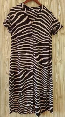 H&M Womens Shirt Dress Cream Black Zebra Print Button Front V Neck Short Sleeve