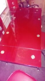Red glass table